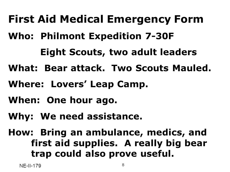 First Aid Medical Emergency Form