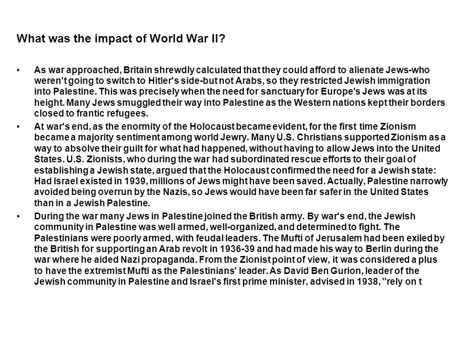 What was the impact of World War Il