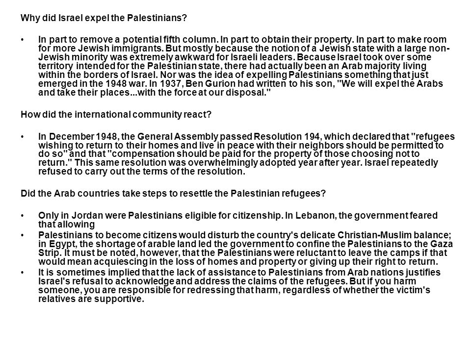 Why did Israel expel the Palestinians