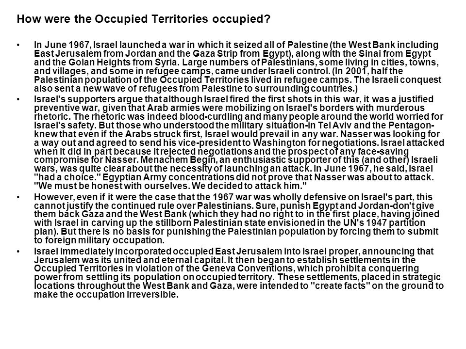 How were the Occupied Territories occupied