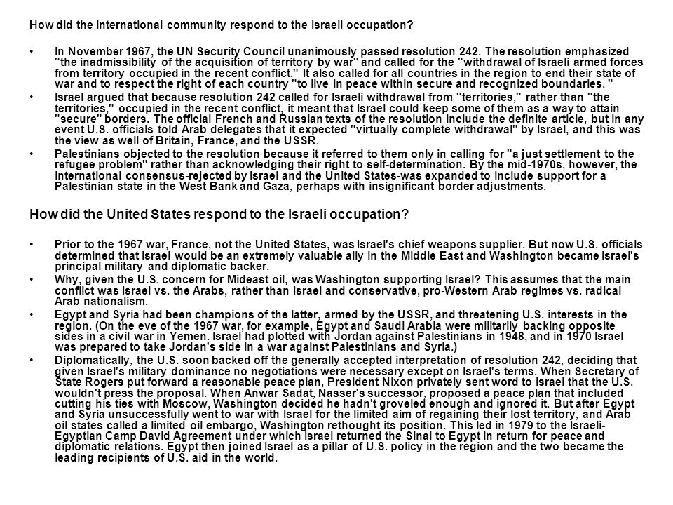 How did the United States respond to the Israeli occupation