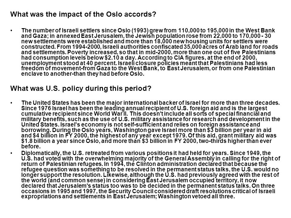 What was the impact of the Oslo accords