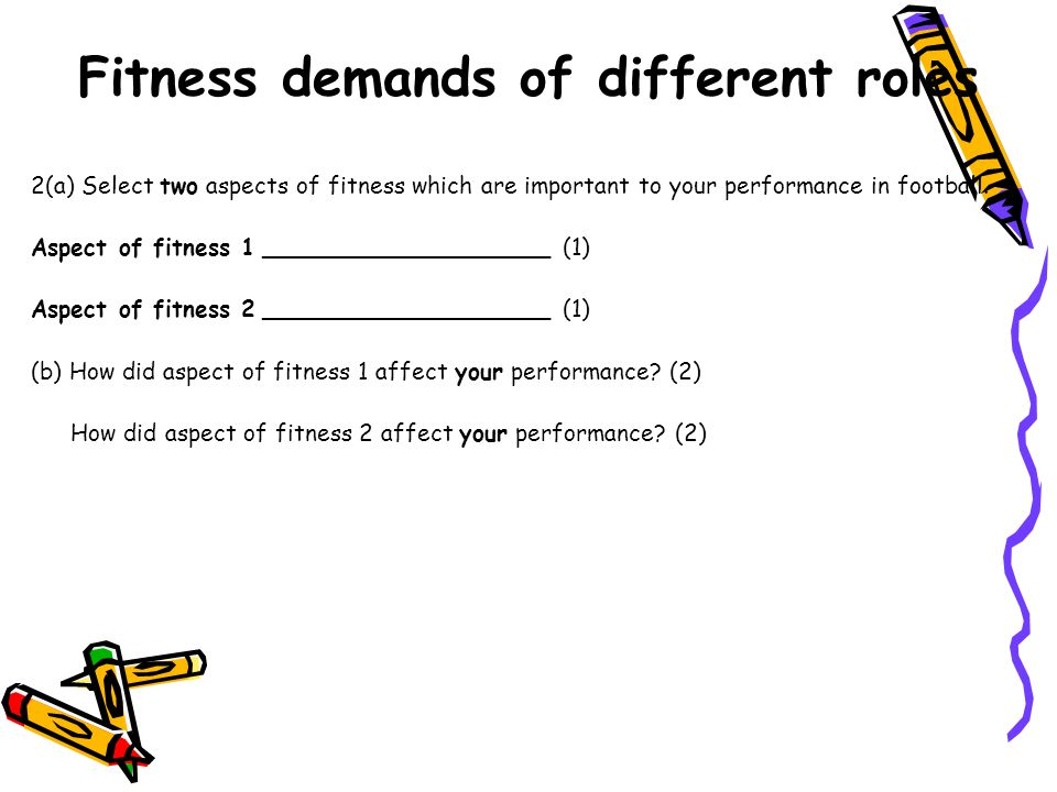 Fitness demands of different roles