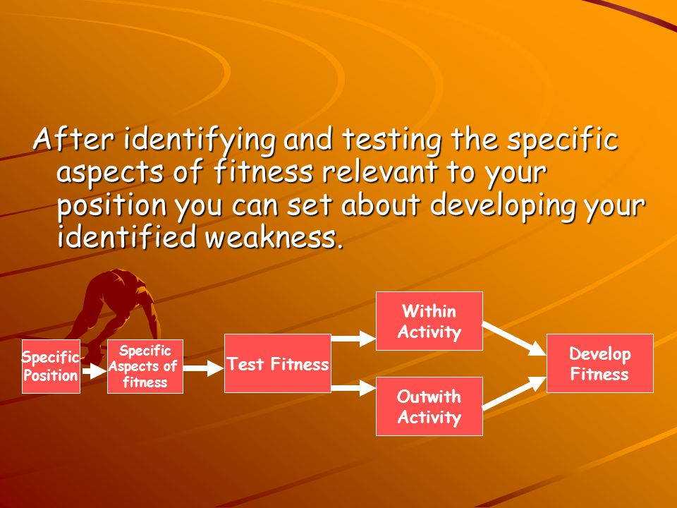 After identifying and testing the specific aspects of fitness relevant to your position you can set about developing your identified weakness.