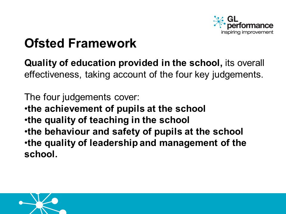Ofsted Framework Quality of education provided in the school, its overall effectiveness, taking account of the four key judgements.