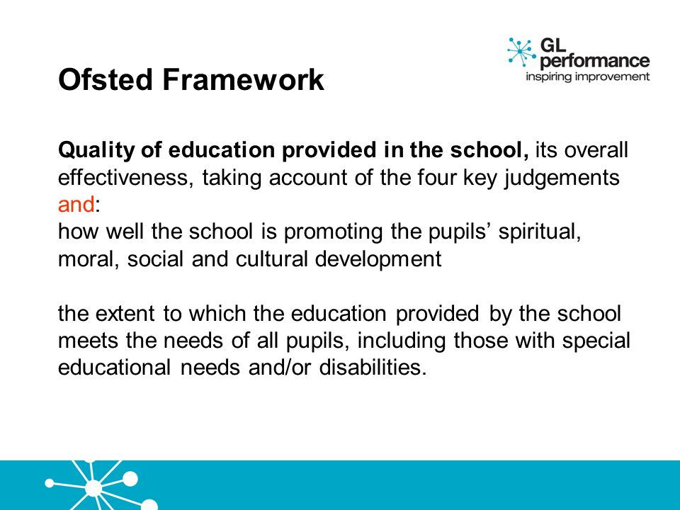 Ofsted Framework Quality of education provided in the school, its overall effectiveness, taking account of the four key judgements and: