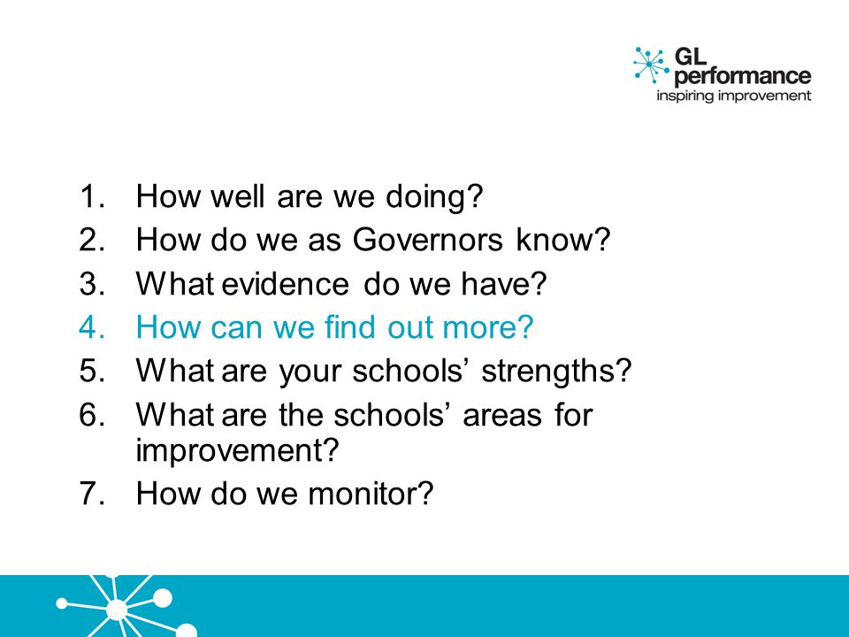How well are we doing How do we as Governors know What evidence do we have How can we find out more
