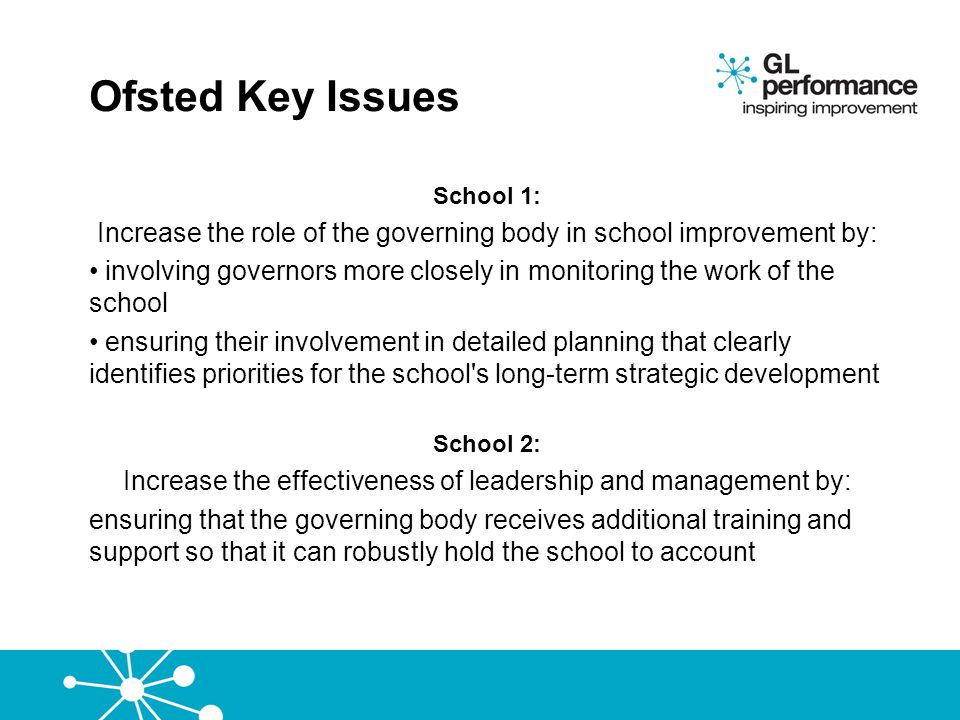 Ofsted Key Issues School 1: Increase the role of the governing body in school improvement by: