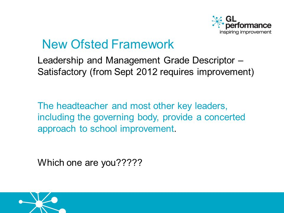 New Ofsted Framework Leadership and Management Grade Descriptor – Satisfactory (from Sept 2012 requires improvement)