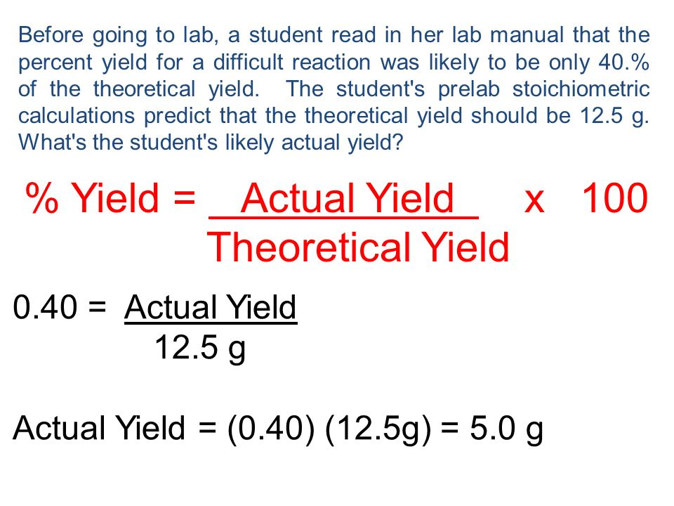 % Yield = Actual Yield x 100 Theoretical Yield 0.40 = Actual Yield