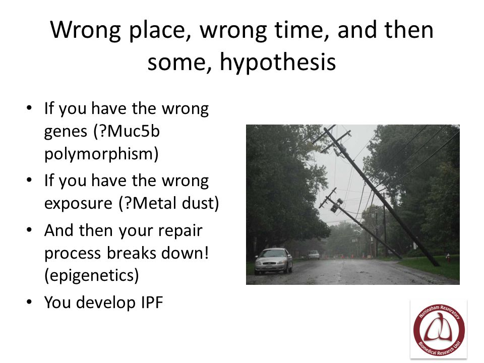 Wrong place, wrong time, and then some, hypothesis