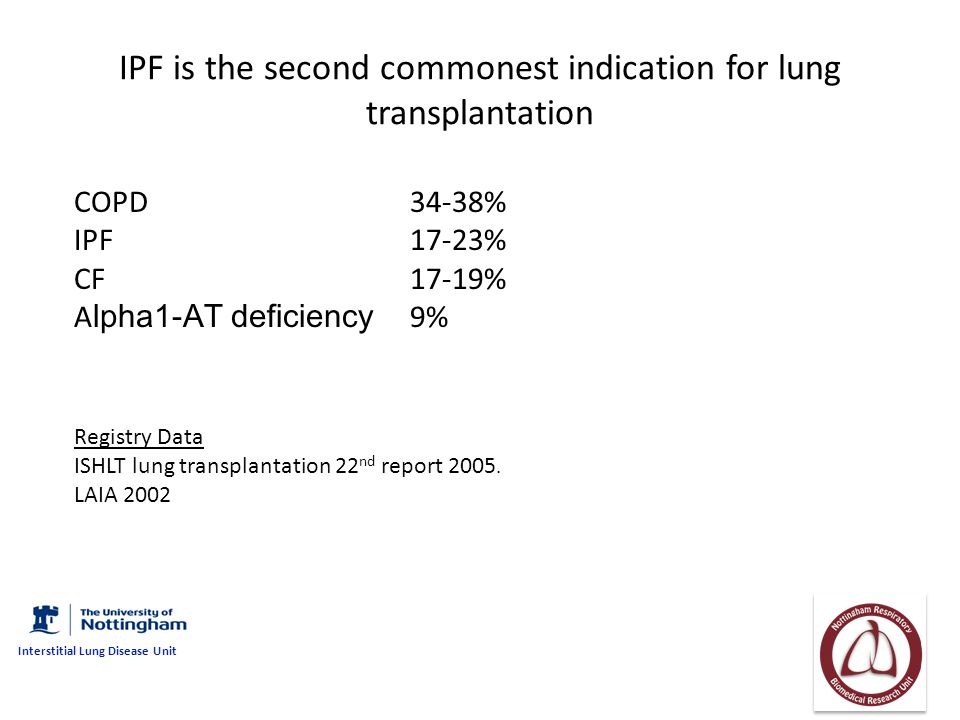 IPF is the second commonest indication for lung transplantation