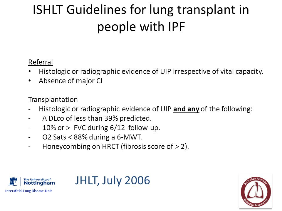 ISHLT Guidelines for lung transplant in people with IPF