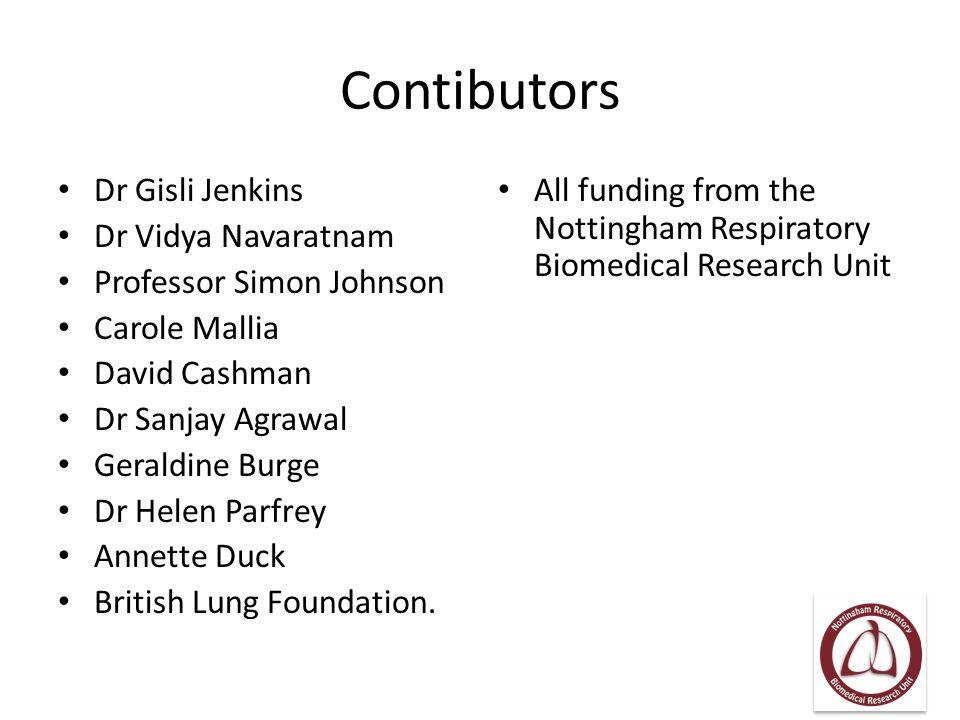 Contibutors Dr Gisli Jenkins Dr Vidya Navaratnam