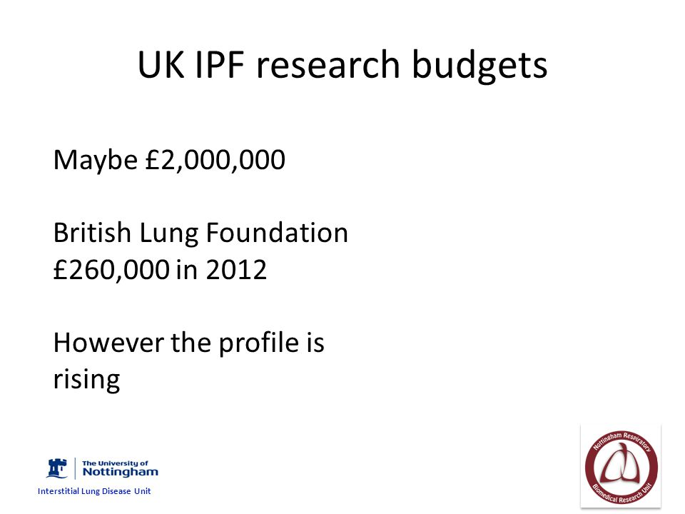 UK IPF research budgets