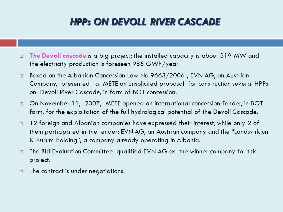 HPPs ON DEVOLL RIVER CASCADE