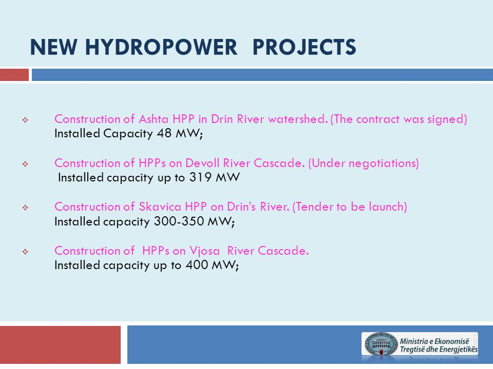 New hydropower Projects