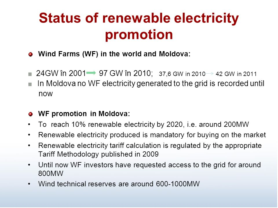 Status of renewable electricity promotion