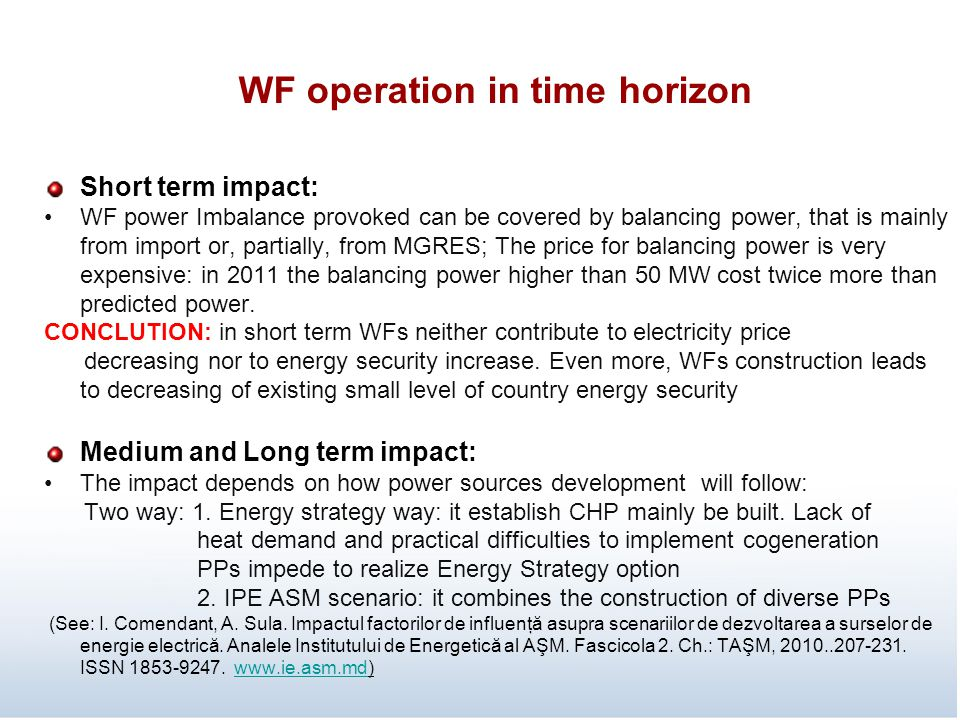 WF operation in time horizon