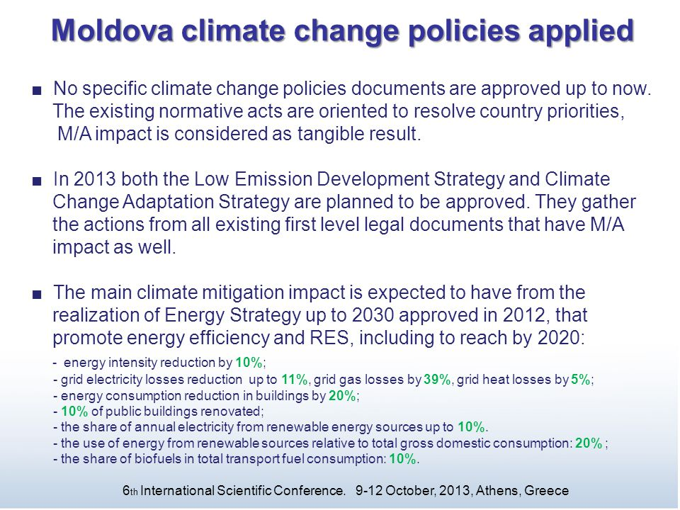Moldova climate change policies applied