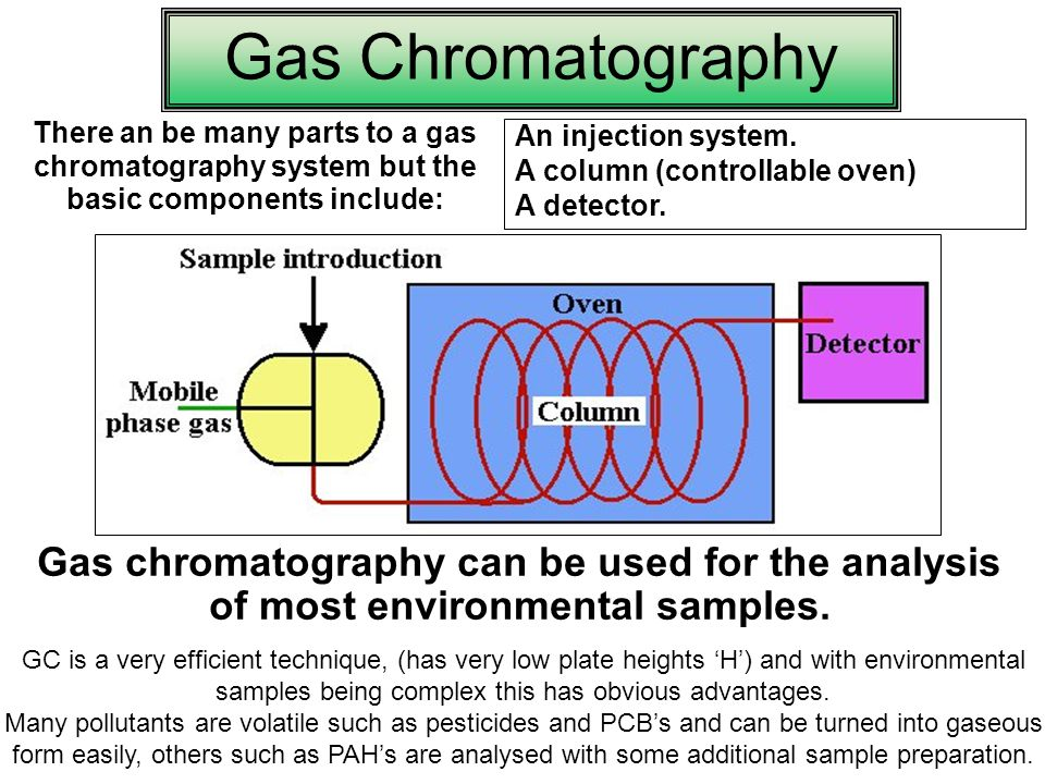 Gas Chromatography There an be many parts to a gas chromatography system but the basic components include: