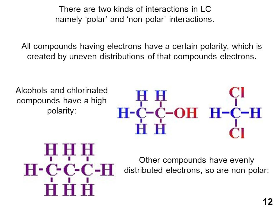 Alcohols and chlorinated compounds have a high polarity:
