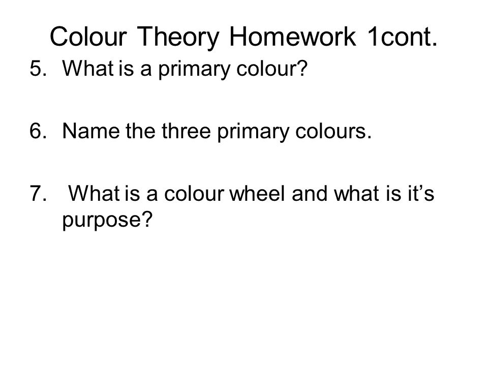 Colour Theory Homework 1cont.