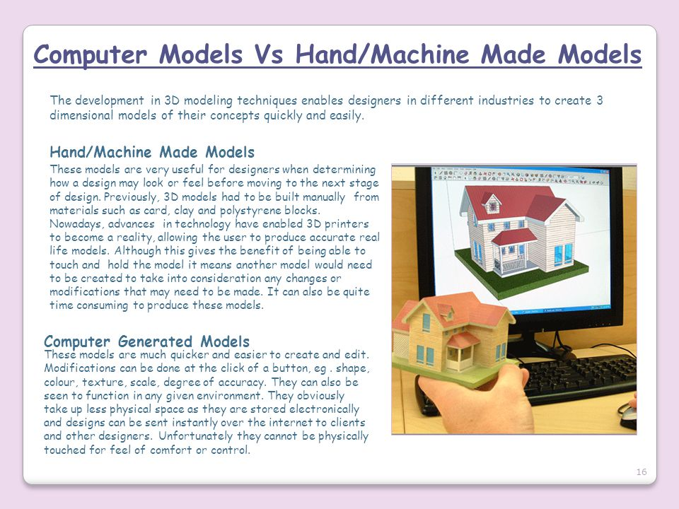 Computer Models Vs Hand/Machine Made Models