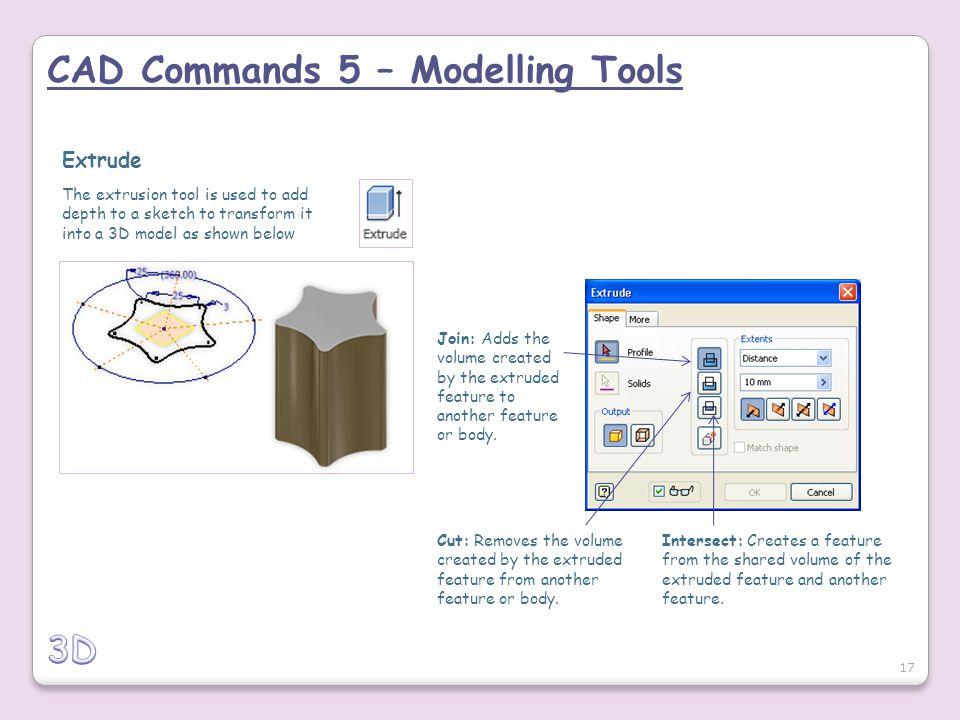 CAD Commands 5 – Modelling Tools