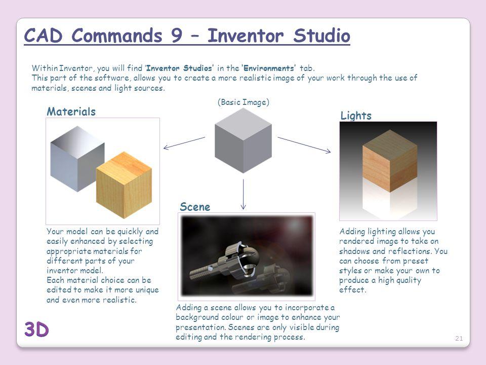 CAD Commands 9 – Inventor Studio
