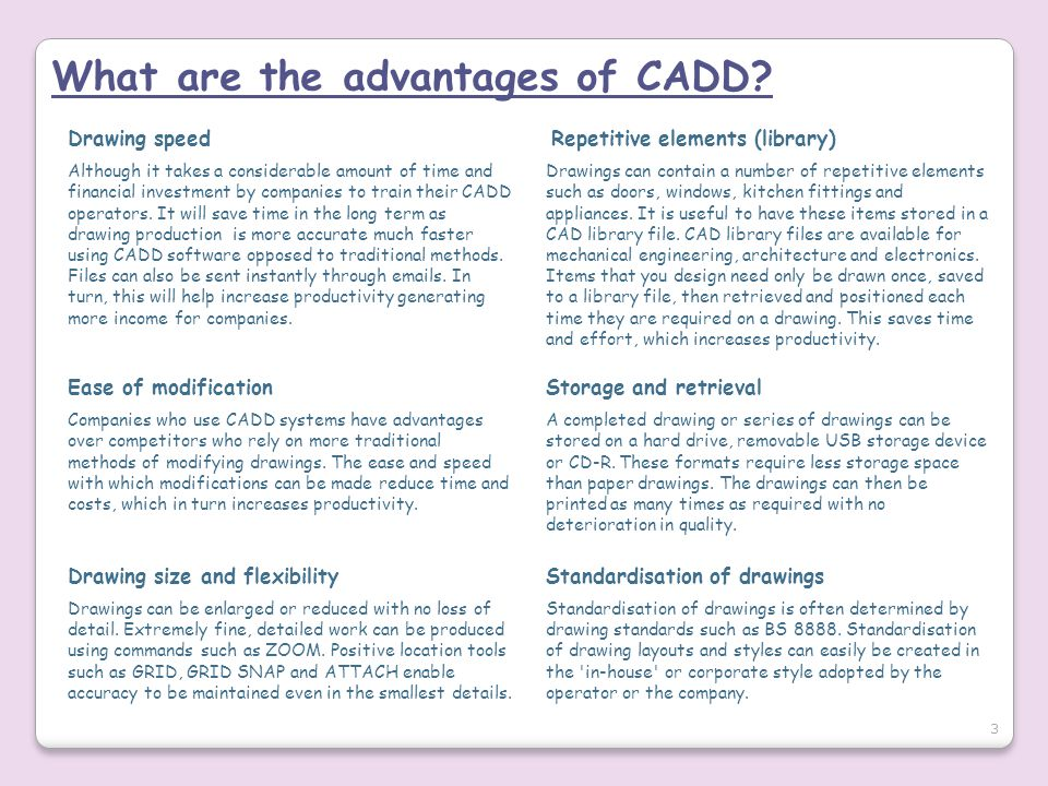 What are the advantages of CADD