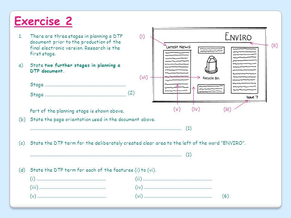 Exercise 2 (i) (iv) (v) (vi) (iii) (ii)