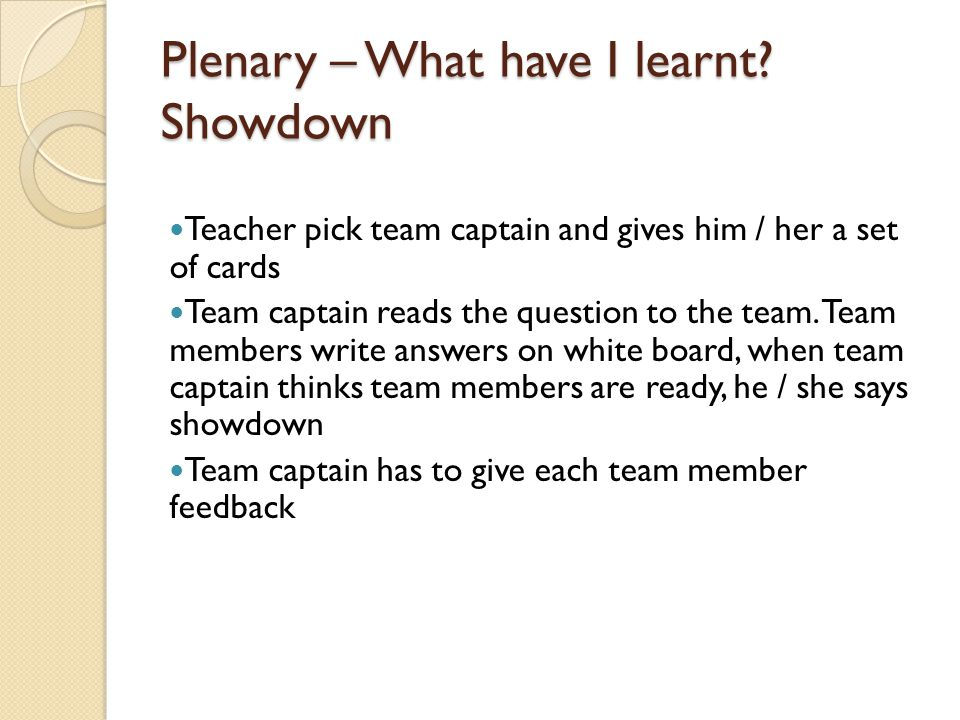 Plenary – What have I learnt Showdown