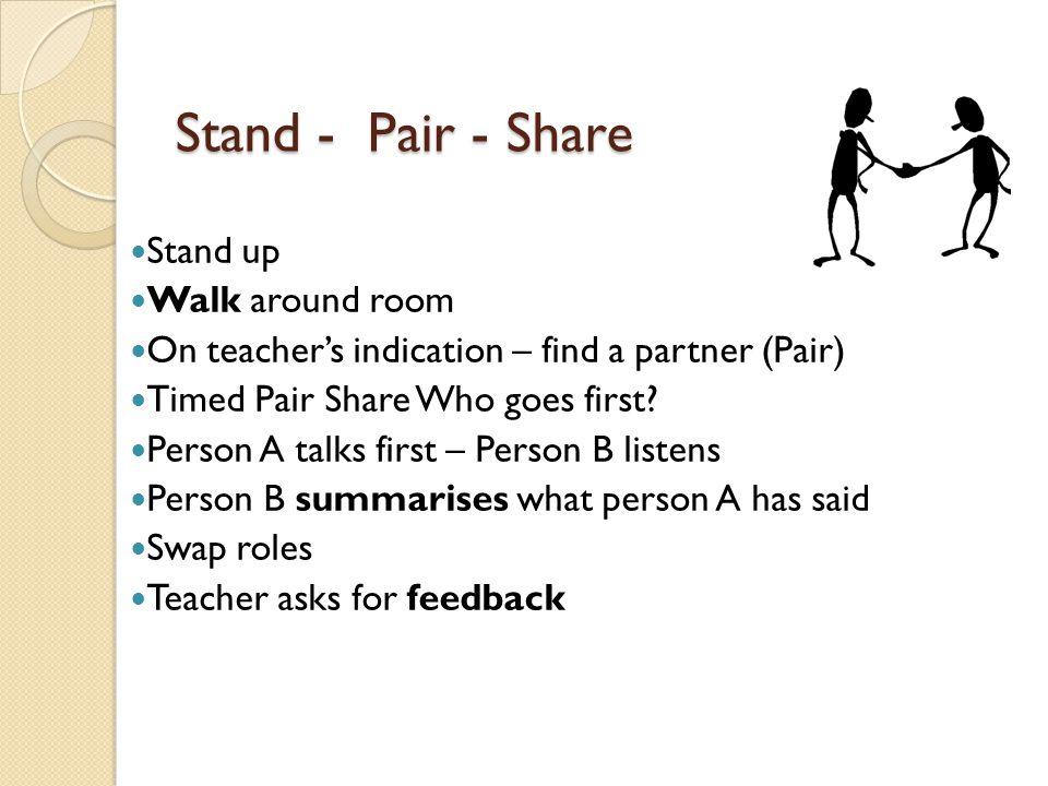 Stand - Pair - Share Stand up Walk around room