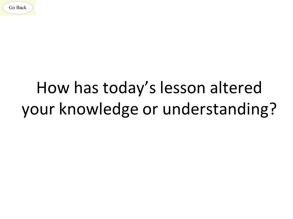 How has today's lesson altered your knowledge or understanding