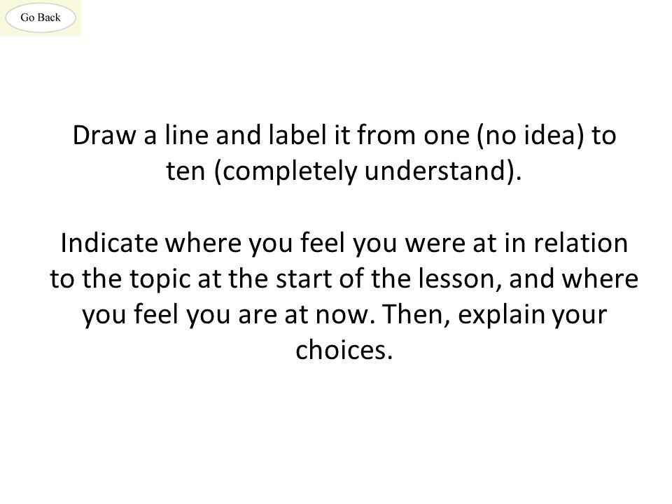 Draw a line and label it from one (no idea) to ten (completely understand).