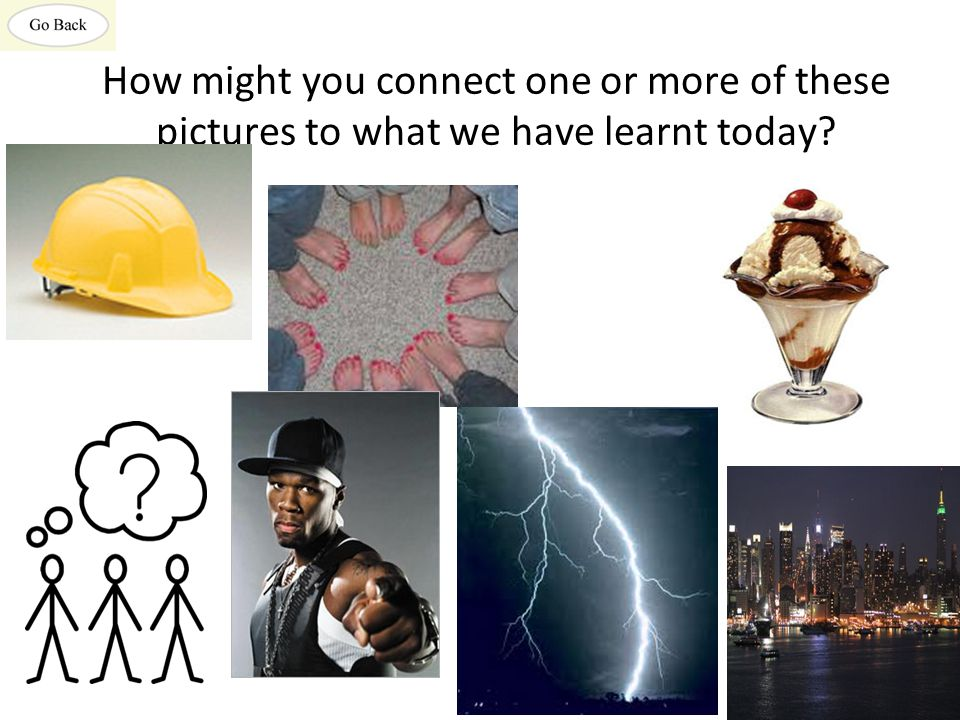 How might you connect one or more of these pictures to what we have learnt today