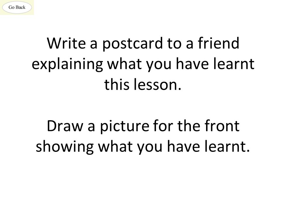 Write a postcard to a friend explaining what you have learnt this lesson.