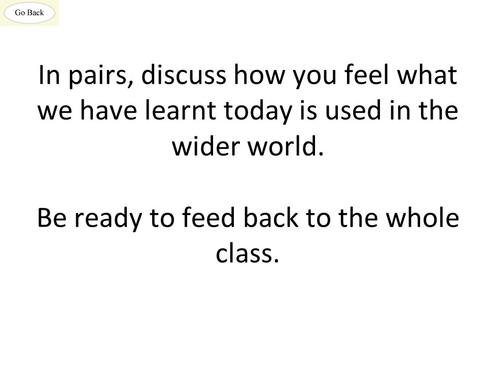 In pairs, discuss how you feel what we have learnt today is used in the wider world.