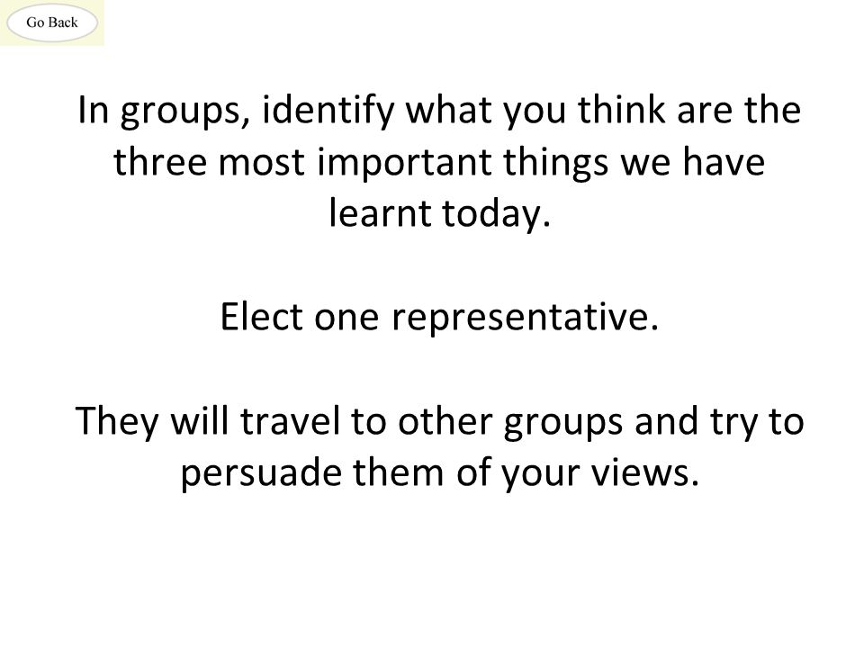 In groups, identify what you think are the three most important things we have learnt today.