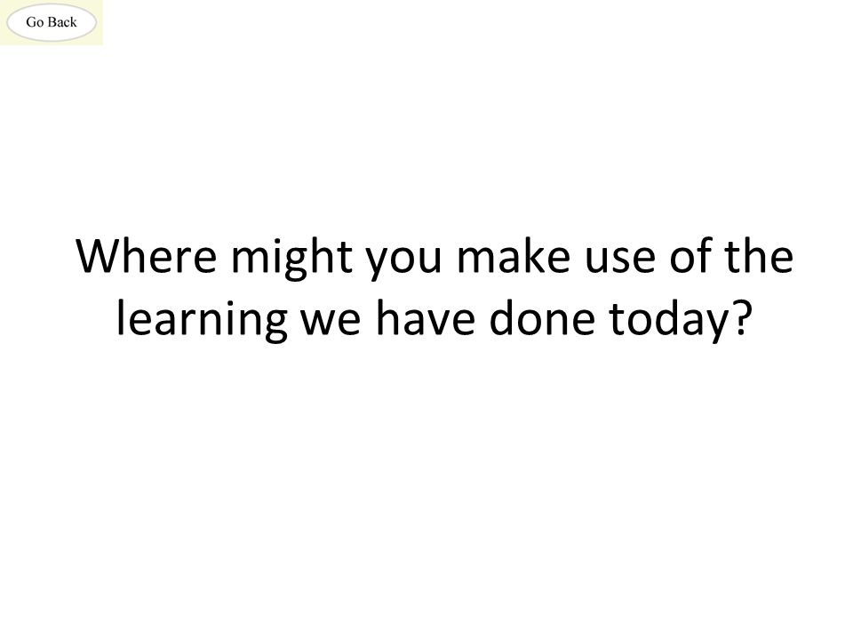 Where might you make use of the learning we have done today