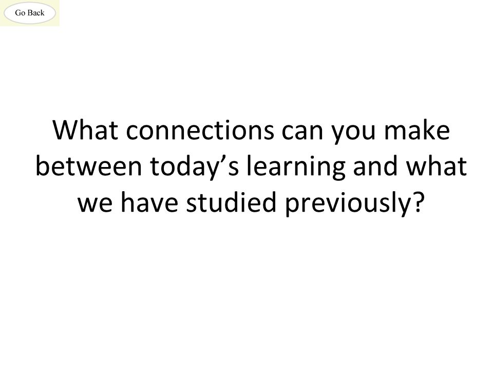 What connections can you make between today's learning and what we have studied previously