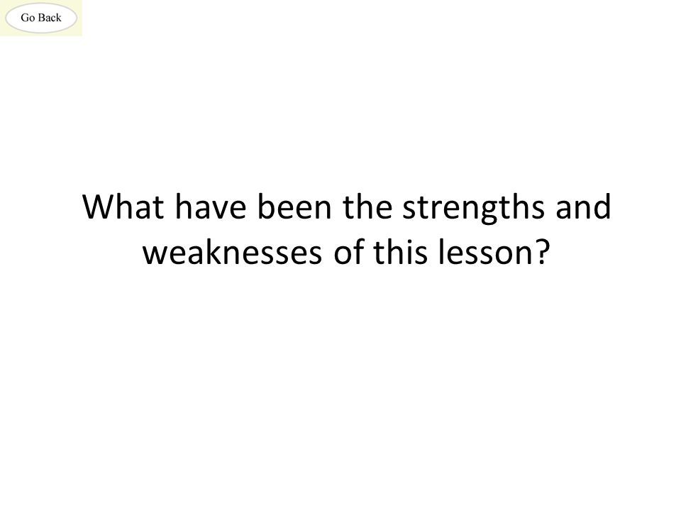 What have been the strengths and weaknesses of this lesson
