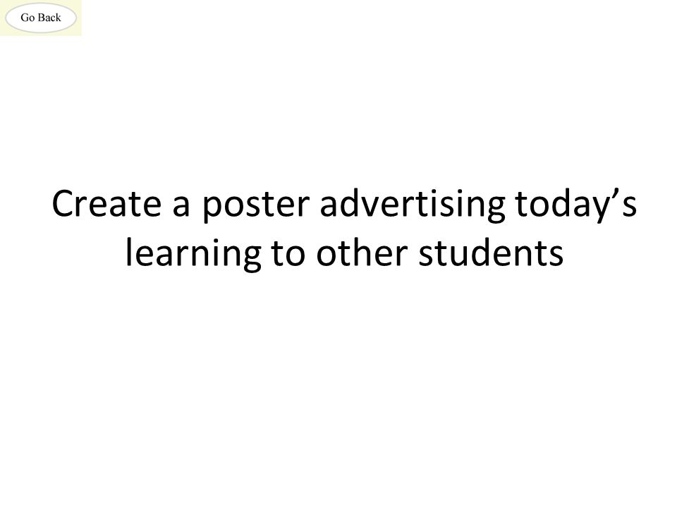 Create a poster advertising today's learning to other students