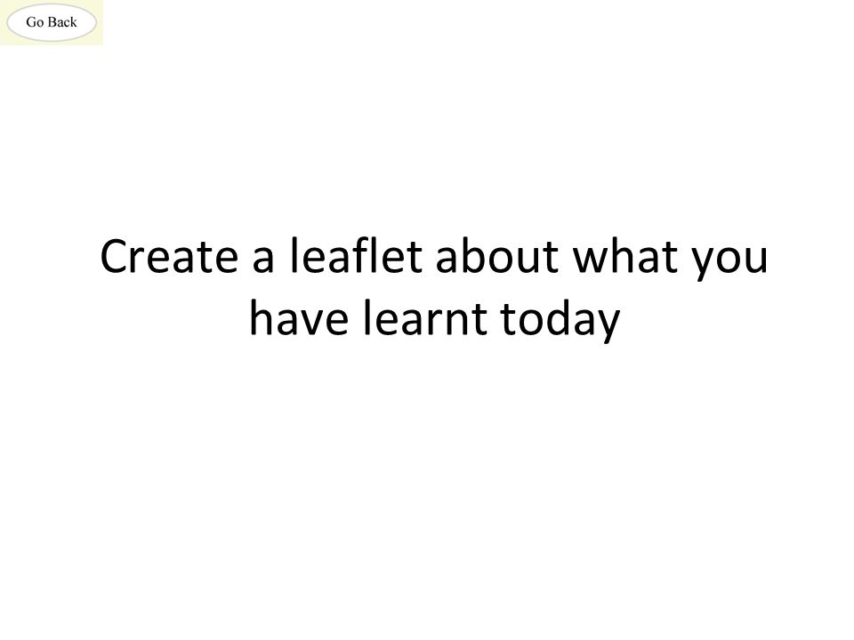 Create a leaflet about what you have learnt today