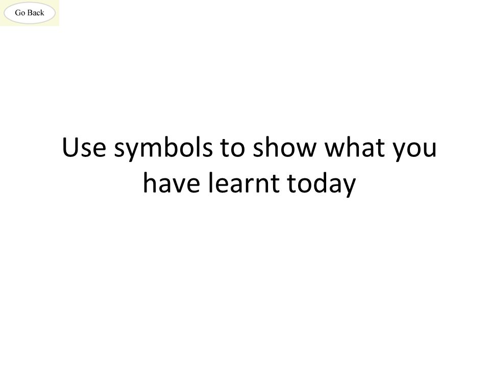Use symbols to show what you have learnt today