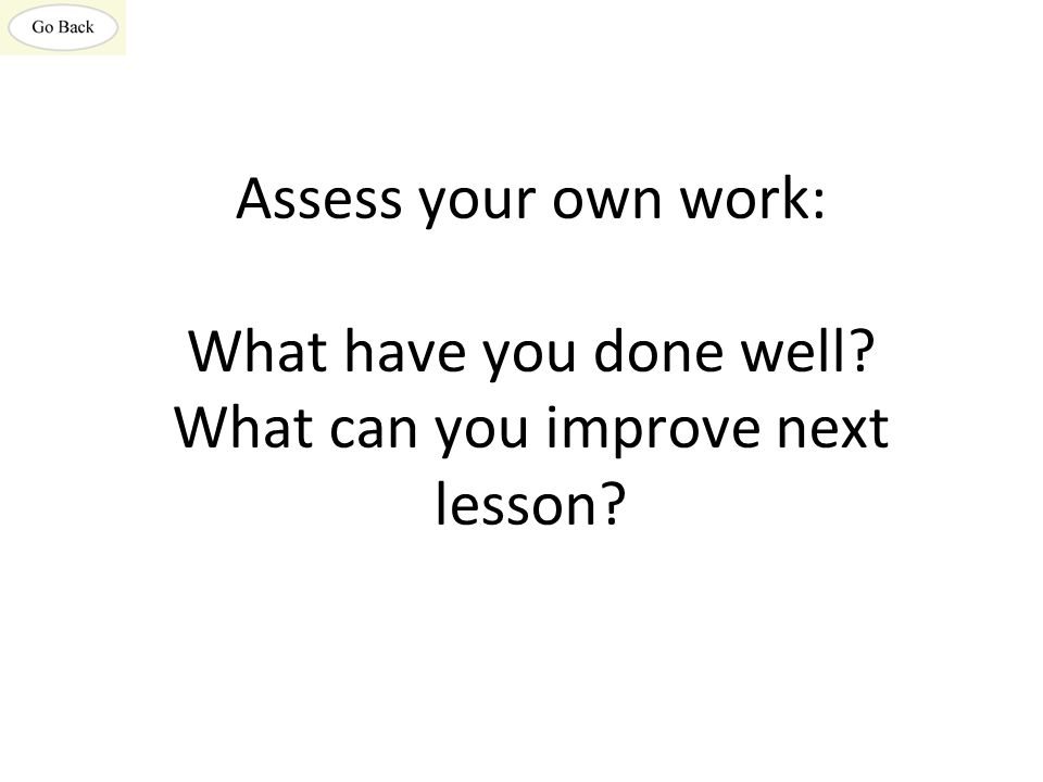 Assess your own work: What have you done well