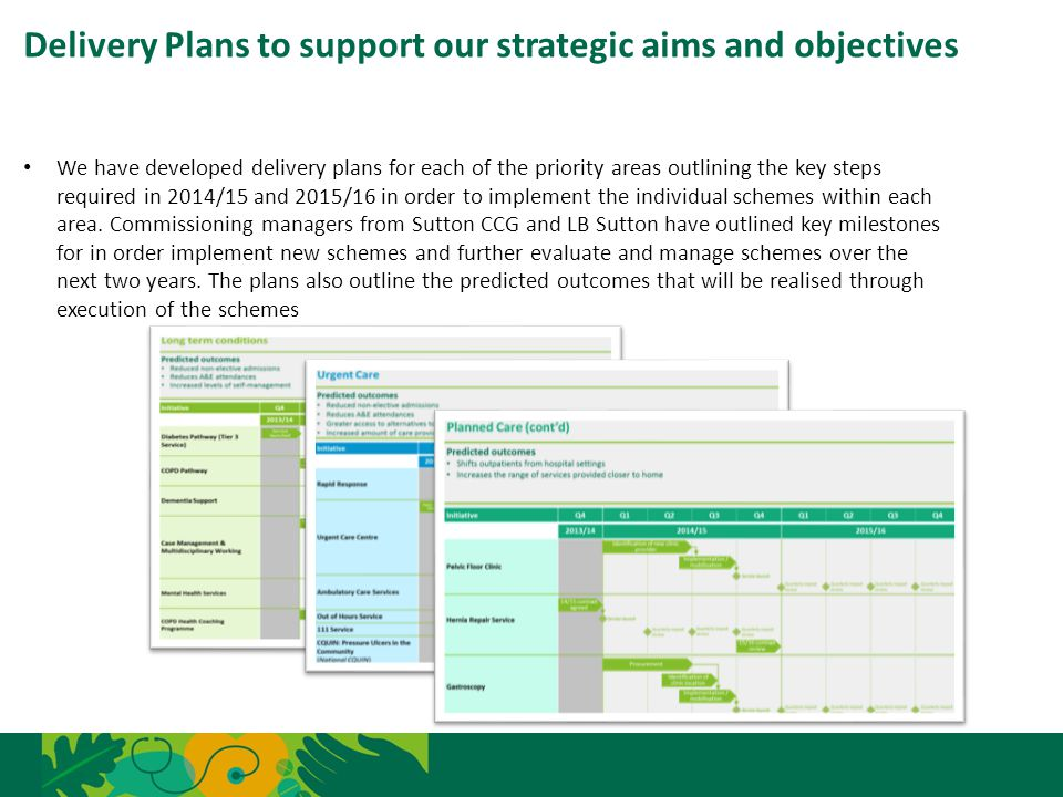 Delivery Plans to support our strategic aims and objectives