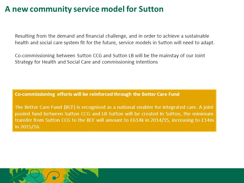 A new community service model for Sutton