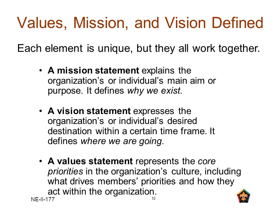 Values, Mission, and Vision Defined